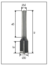 292 Straight router bits Z=2 cylindrical shank