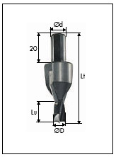 400 TCT-dowel drills with fixed countersink 60°